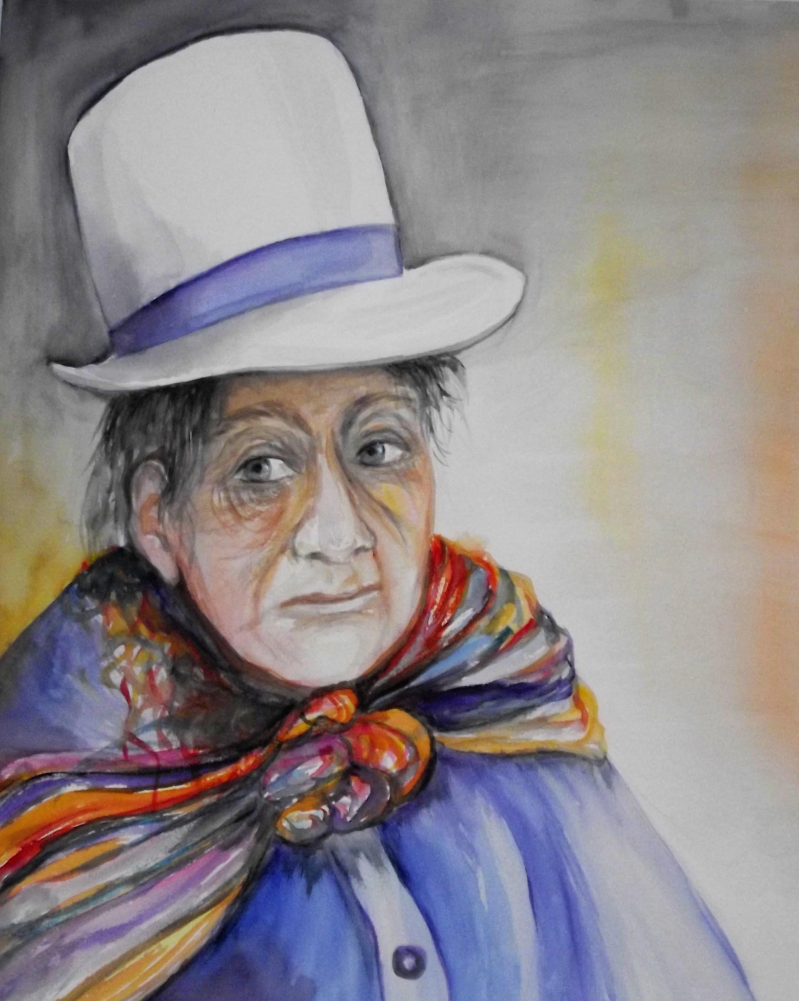 Femme au chapeau blanc  (30 x 40 cm) aquarelle 2014