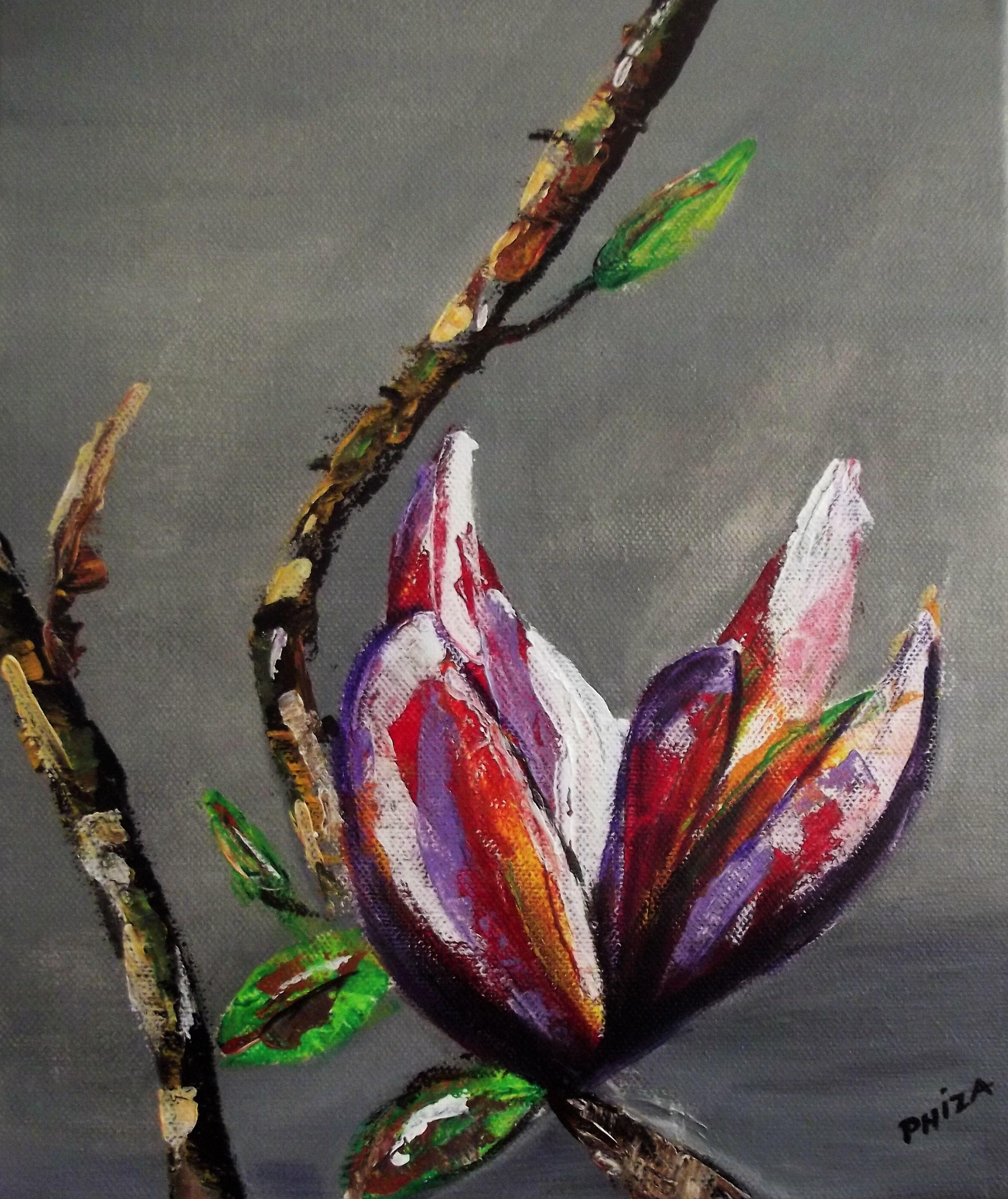 Fleur de magnolia  (24 x 30 cm) acrylique 2008